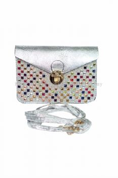 Colourful Stone Cross-body Bag (Silver)