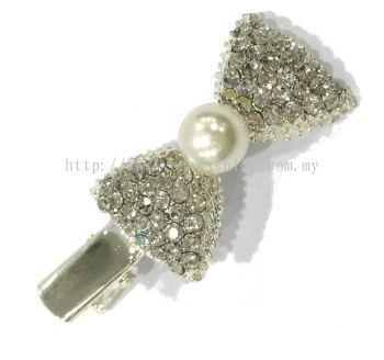 Ribbon Stone Hair Pin (Silver)