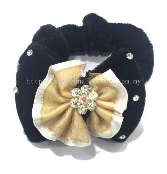 Ribbon Design With Stone Hair Tie (Yellow)