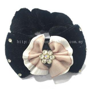 Ribbon Design With Stone Hair Tie (Peach)