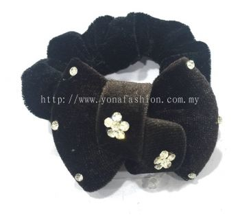 Knot Design Stone Hair Tie (Black)