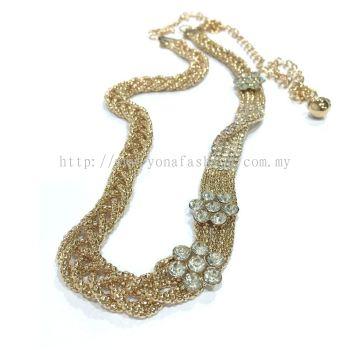 Ladies Style Braid Stone Chain Belt (Gold)