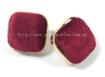 Fabric Square Earring (Red)