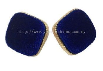 Fabric Square Earring (Dark Blue)