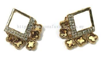Diamond Shape Full Stone Earring (Gold)
