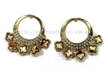 Round Shape Full Stone Earring (Gold)