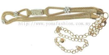 Ladies Style Flower Stone Chain Belt (Gold)