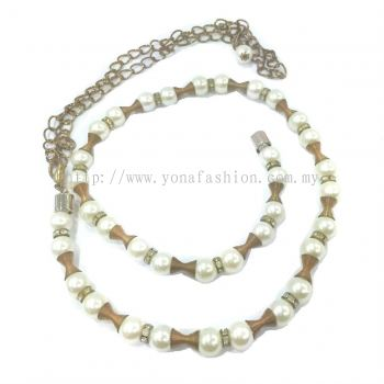 Ladies Style Pearl Chain Belt (Gold/White)