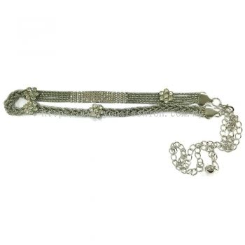Ladies Style Braid Stone Chain Belt (Silver)