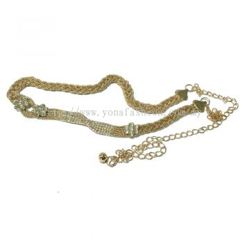 Ladies Style Braid Stone Chain Belt (Gold)