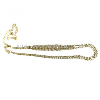 Ladies Style Flower Stone Chain Belt (Gold)