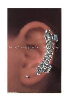 Elegant Full Stone Ear Cuff (Black/Silver)