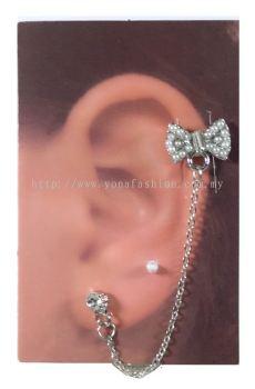 Ribbon Stone Ear Cuff (Silver)
