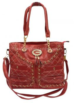 Designer PU Leather Handbag (Red)