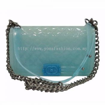 Channel Shoulder Cum Sling Bag (Clear Blue)