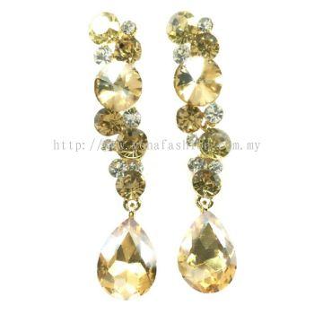 Grand Stone Long Earring (Shiny Gold Brown)