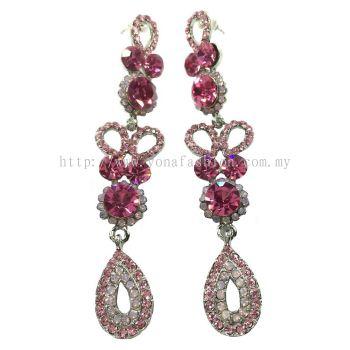 Grand Stone Long Earring (Shimmering Pink)