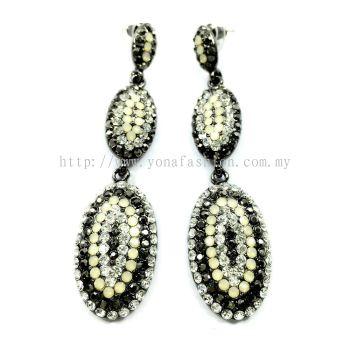 Grand Stone Long Earring (Black/White/Silver)
