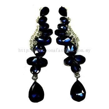 Grand Stone Peacock Earring (Dark Blue)