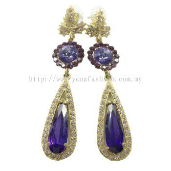 Purple Stone Long Earring (Gold/Purple)