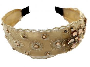 Grand Stone Lace Hair Band (Brownish)