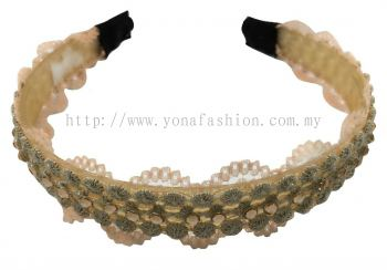 Grand Stone Lace Hair Band (Beige)