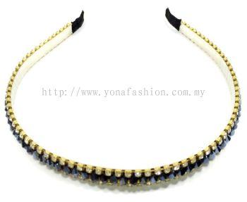 Black Crystal Stone Hair Band (Shiny)