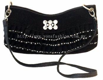 PU Leather Stone Clutch (Black)