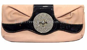 PU Leather Stone Clutch (Peach & Black)