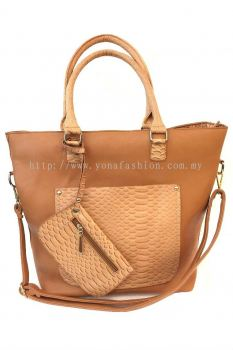 2 in 1 PU Leather Handbag (Light Brown)