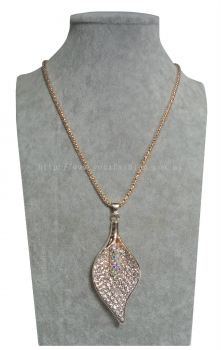 New Elegant Leaf Long Chain Pendant Full RhineStone Design