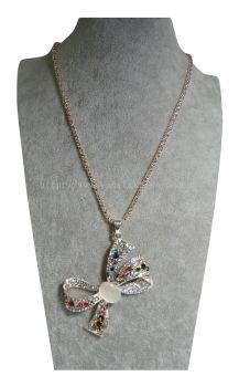 New Elegant Ribbon Colourful Crystal Long Chain Pendant RhineStone Design