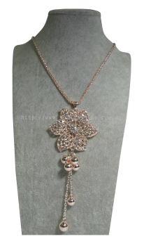 New Elegant Flower Pearls Long Chain Pendant RhineStone Design
