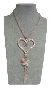 New Elegant Heart Colourful Pearls Long Chain Pendant RhineStone Design