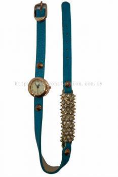 Ladies Designer PU Leather Strap Bracelet RhineStone Wrist Watch (Blue)