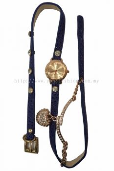 Ladies Designer PU Leather Strap Bracelet Love Shape RhineStone Wrist Watch (Navy Blue)