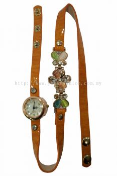 Ladies Designer Flower PU Leather Strap Bracelet Colourful Stone Wrist Watch (Light Brown)