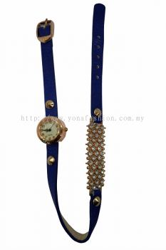 Ladies Designer PU Leather Strap Bracelet RhineStone Wrist Watch (Navy Blue)