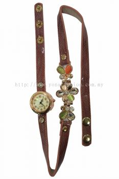 Ladies Designer Flower PU Leather Strap Bracelet Colourful Stone Wrist Watch (Brown)