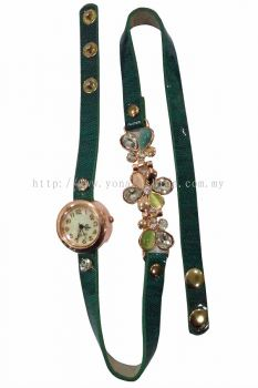 Ladies Designer Flower PU Leather Strap Bracelet Colourful  Stone Wrist Watch (Green)