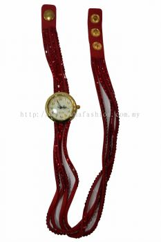 Vintage Style Bracelet Stone Wrist Watch (Hot Red)