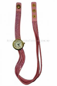 Vintage Style Bracelet Stone Wrist Watch (Light Pink)
