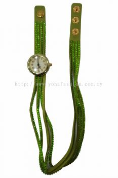 Vintage Style Bracelet Stone Wrist Watch (Shocking Green))