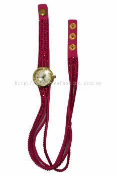 Vintage Style Bracelet Stone Wrist Watch (Pink)