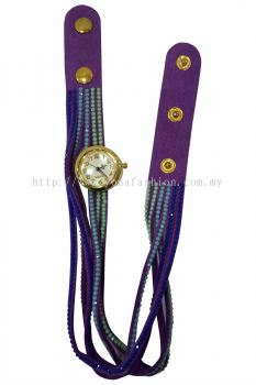 Vintage Style Bracelet Stone Wrist Watch (Purple)
