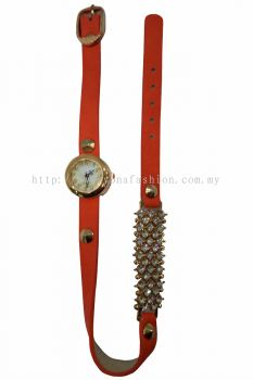 Ladies Designer PU Leather Strap Bracelet RhineStone Wrist Watch (Orange)