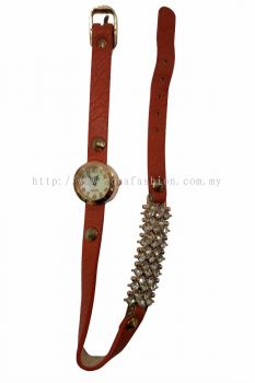 Ladies Designer PU Leather Strap Bracelet RhineStone Wrist Watch (Brown)