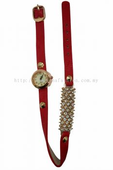 Ladies Designer PU Leather Strap Bracelet RhineStone Wrist Watch (Pink)