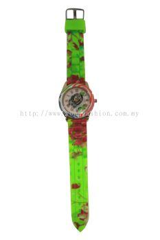 Ladies Colourful Flower Design Watch (Shocking Green)