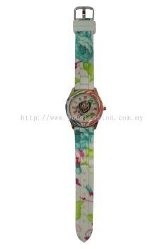 Ladies Colourful Flower Design Watch (White)